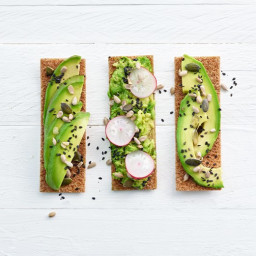 Avocado sandwich with sesame and sunflower seeds