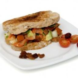 Avocado sandwich with tomato veggie roll