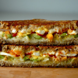 Avocado and Medium Boiled Egg Grilled Cheese with Sriracha