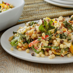 Baby Broccoli and Fregola Sarda Casserolewith Sweet Peppers and Asiago Chee