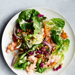 Baby Romaine and Hot Smoked Salmon Salad