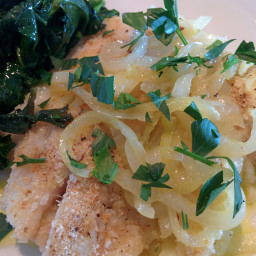 Bacalhao a lagareiro (Baked cod with onions & garlic)