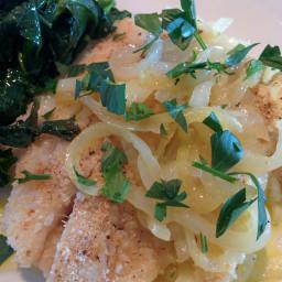 Bacalhao a lagareiro (Baked cod with onions & garlic)