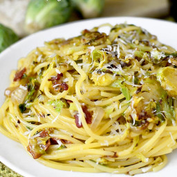 Bacon and Brussels Sprouts Spaghetti Carbonara