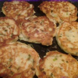 Bacon and Cheddar Potato Cakes with Green Onions and Garlic