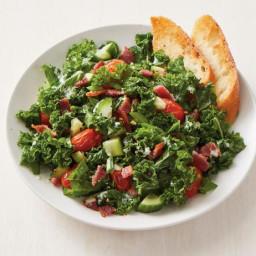 Bacon-Kale Salad with Garlic Bread