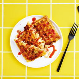 Bacon mac 'n' cheese waffle jaffles with hot sauce