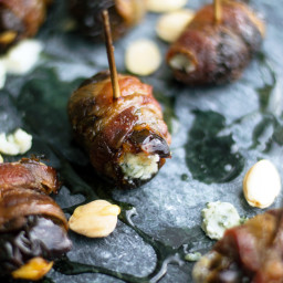 Bacon Wrapped Dates Stuffed with Marcona Almonds and Blue Cheese
