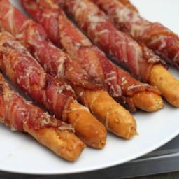 Bacon Wrapped Sesame Breadsticks