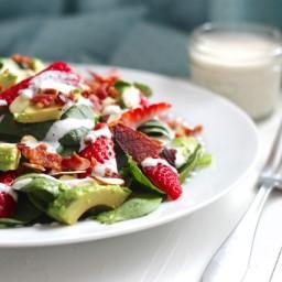 Bacon, Avocado  and  Strawberry Salad with Greek Yogurt Poppyseed Dressing