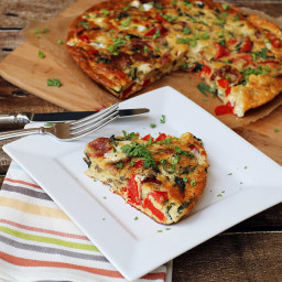 Bacon, Red Pepper, and Mozzerella Frittata
