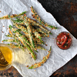 Baked Asiago Green Bean Fries + Spicy Tomato-Basil Ketchup