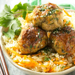 Baked Asian Turkey Meatballs and Carrot Rice