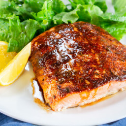 Baked Blackened Salmon with Brown Butter Lemon Glaze