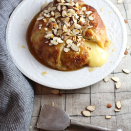 Baked Brie in Puff Pastry with Honey and Almonds.