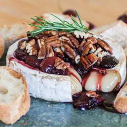 Baked Brie with Honeyed Cherries and Toasted Pecans