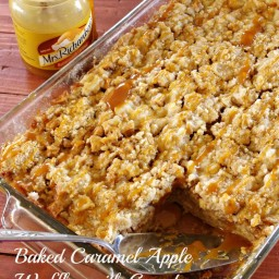Baked Caramel Apple Waffles with Crumb Topping Recipe