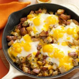 Baked Cheddar Eggs and Potatoes Recipe