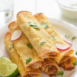 Baked Chicken, Bean and Cheese Taquitos