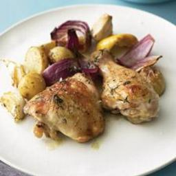Baked Chicken with Onions, Potatoes, Garlic, and Thyme