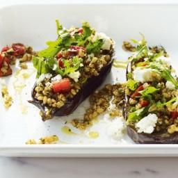 Baked eggplant with barley, feta and dill