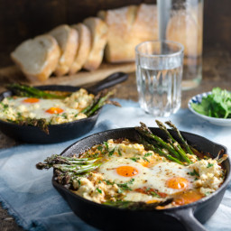 Baked Eggs in Sugo with Asparagus and Ricotta