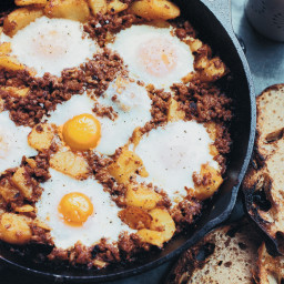 Baked Eggs with Chorizo and Potatoes
