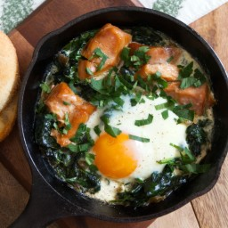 Baked Eggs with Wilted Spinach and Salmon