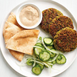Baked Falafel with Cucumbers and Tahini