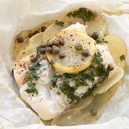 Baked fish with capers, potato and lemon