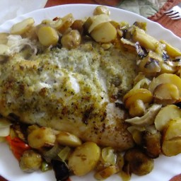 Garlicky Baked Fish with Lemon and Vegetables