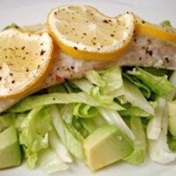 Baked flathead with iceberg lettuce salad
