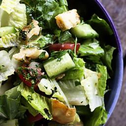 Baked Garlic Pita Chips and Fattoush (Crumbled Pita Chip Salad) | Make Ahea