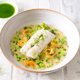 Baked Hake with Summer Vegetables and Dill Oil