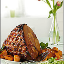 Baked Ham With Ginger-Mango Glaze and Roasted Sweet Potatoes