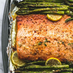 Baked Lemon Parmesan Salmon and Asparagus in Foil