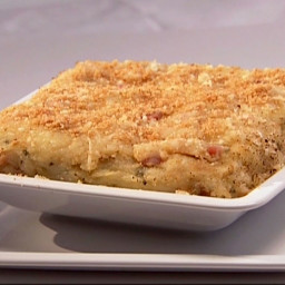 Baked Mashed Potatoes, with Pancetta, Parmesan Cheese, and Breadcrumbs
