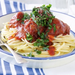Baked meatballs with linguine