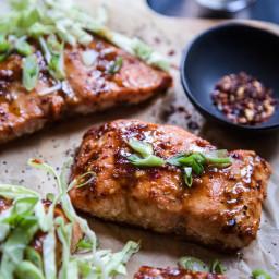 Baked Miso-Hoisin Salmon with Crunchy Slaw