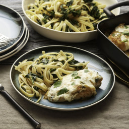 Baked Mozzarella Chickenwith Yellow Tomato Sauce, Kale and Fettuccine