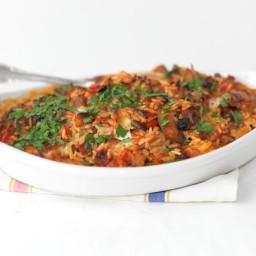 Baked Orzo with Chorizo and Mozzarella