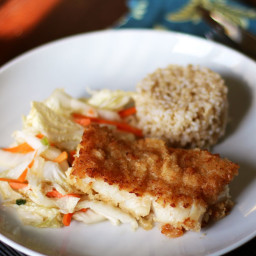 Baked Panko Rockfish with Gingery Cabbage