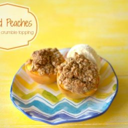 Baked Peaches with Oat Crumble Topping