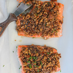 Baked Pecan Bourbon Salmon