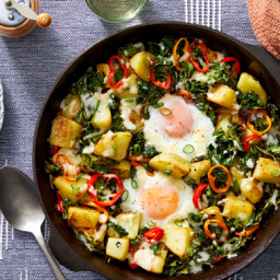 Baked Pepper & Potato Hash with Eggs & Cheddar Cheese