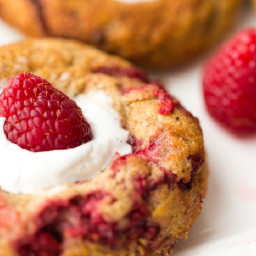 Baked Raspberry Lemon Donuts with Coconut Whip