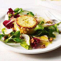 Baked ricotta with pear and walnut salad