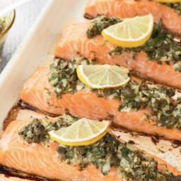 Baked salmon with caper dill pesto