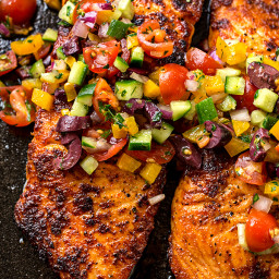 Baked Salmon with Mediterranean Salsa Fresca and Toasted Couscous