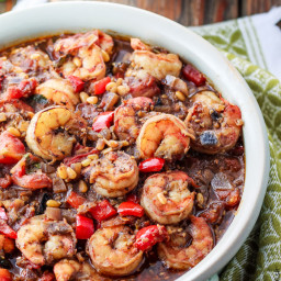 Baked Shrimp Stew in a Mediterranean Chunky Tomato Sauce